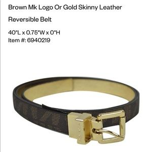 Michael Kors Brown Logo & Gold Reversible Belt - L